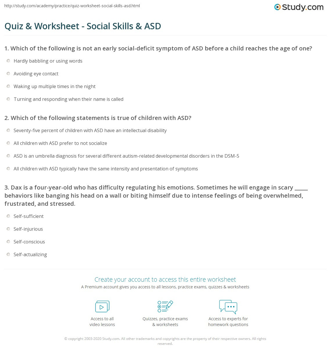 Social Skills Worksheets for Autism Quiz & Worksheet social Skills & asd