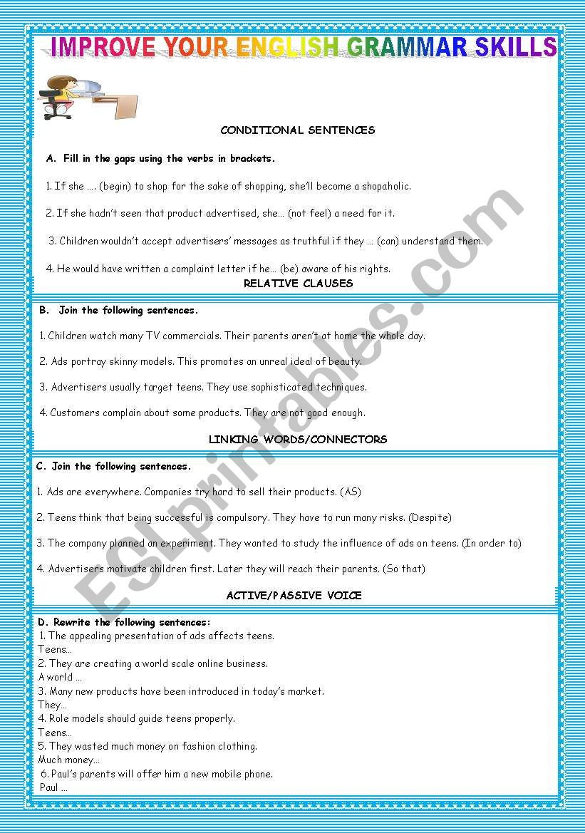 Social Skills Worksheets for Teens Teens´ Shopping Habits Improve Your English Grammar Skills