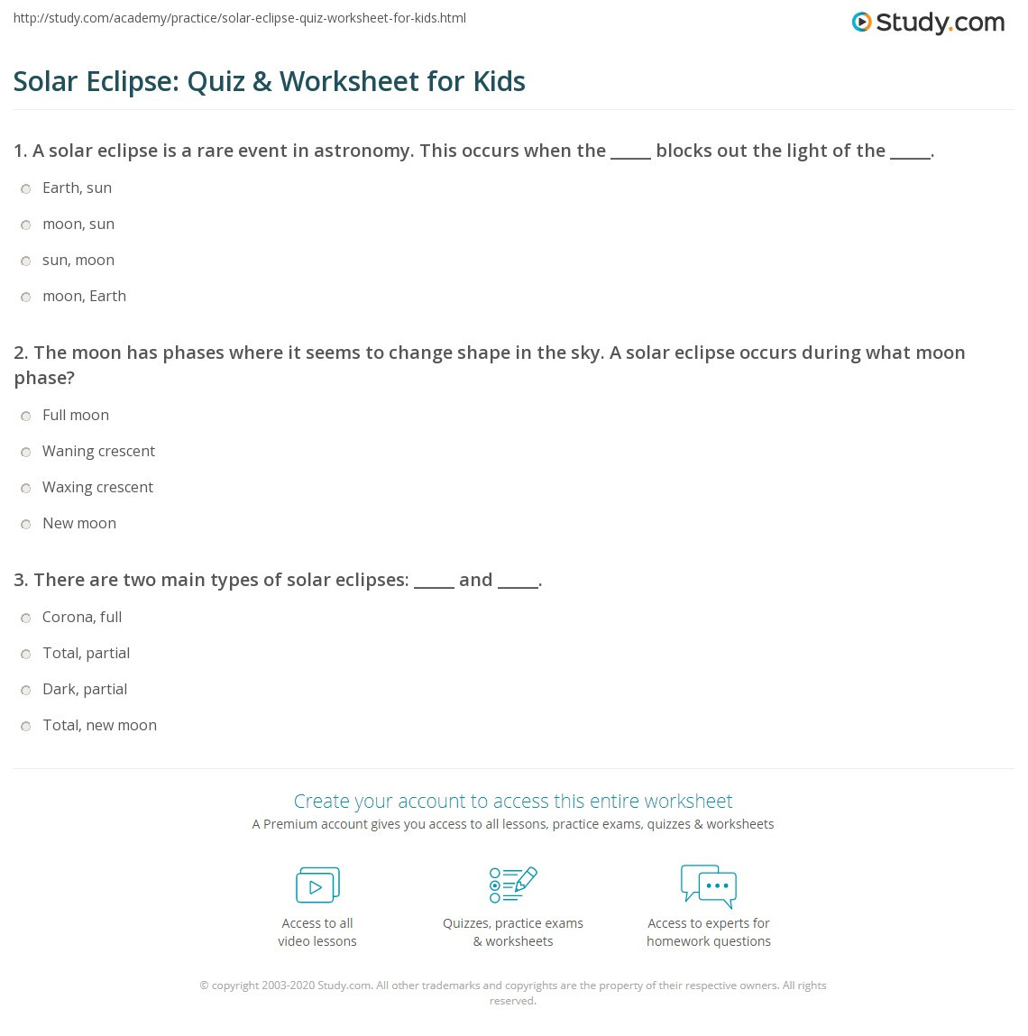 Solar Eclipse Worksheets Middle School solar Eclipse Quiz & Worksheet for Kids