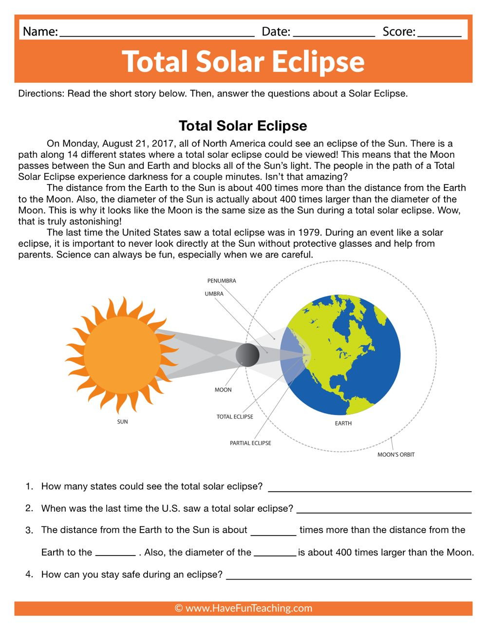 Solar Eclipse Worksheets Middle School total solar Eclipse Worksheet