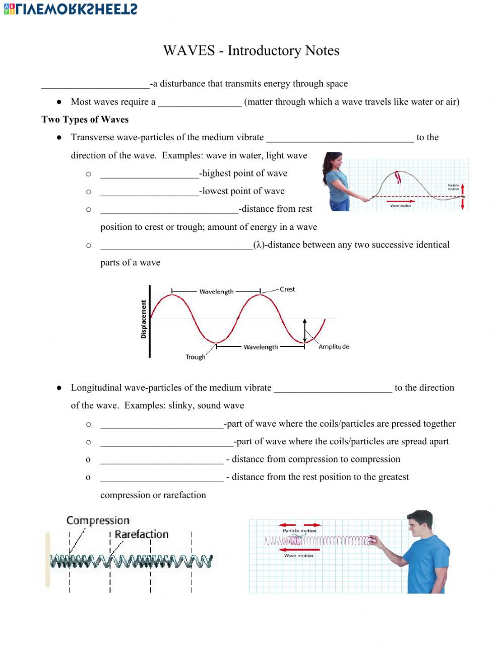 Sound Waves Worksheet Middle School Intro to Waves Interactive Worksheet