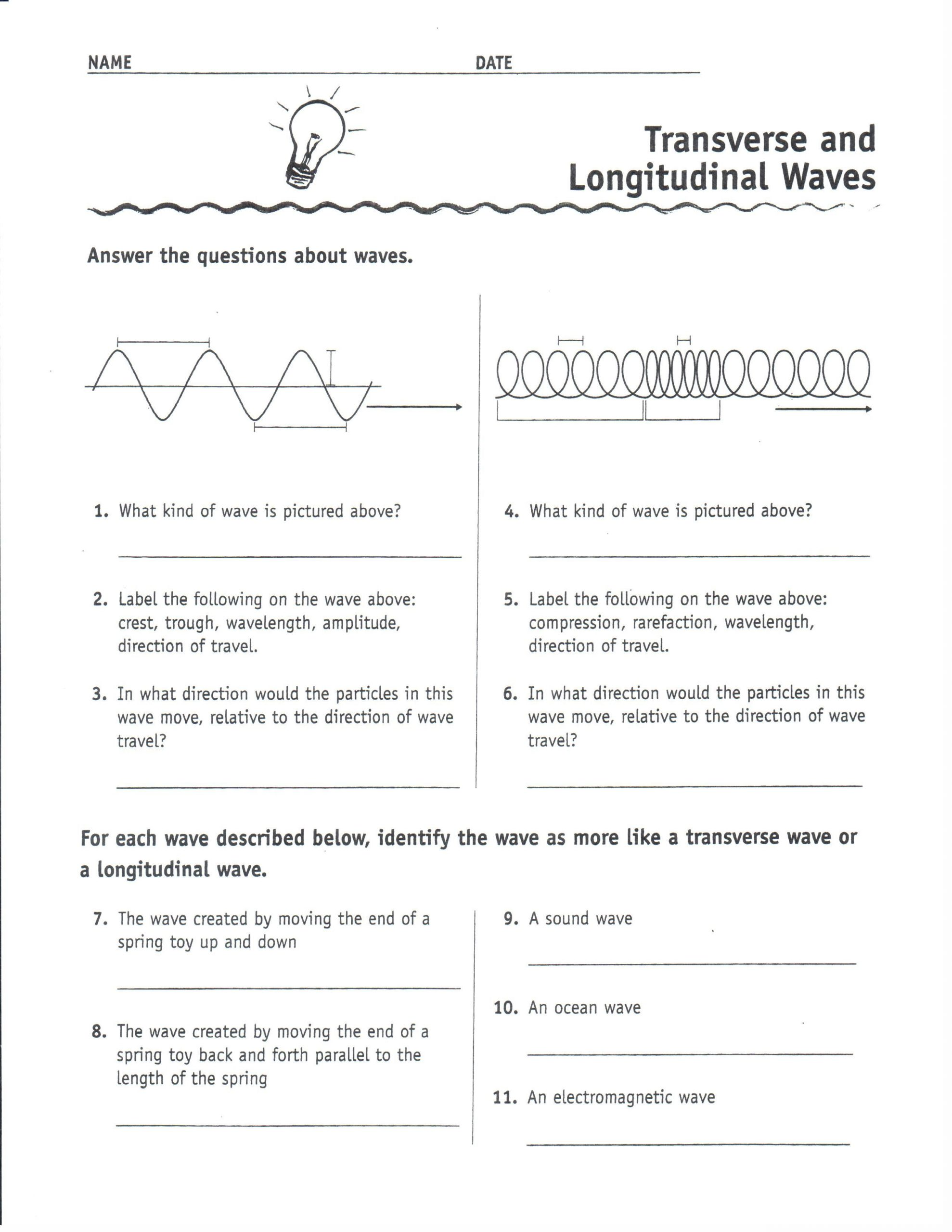 Sound Waves Worksheet Middle School Physical Science Transverse and Longitudinal Waves 1uyxl0i