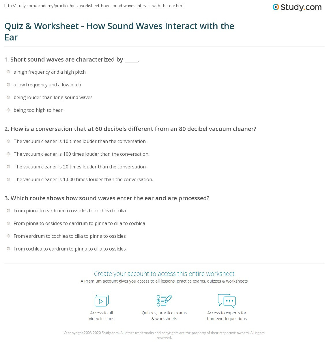 Sound Waves Worksheet Middle School Quiz & Worksheet How sound Waves Interact with the Ear