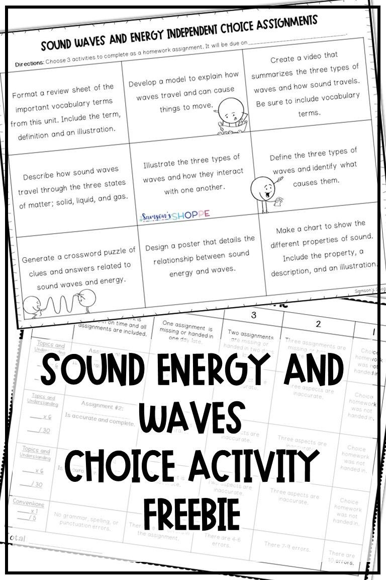 Sound Waves Worksheet Middle School sound Energy Waves Free