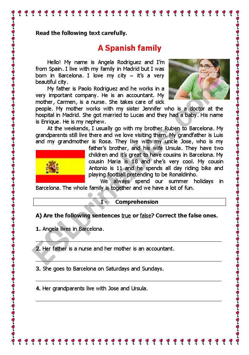 Spanish Reading Comprehension Worksheets A Spanish Family Esl Worksheet by Ladybug