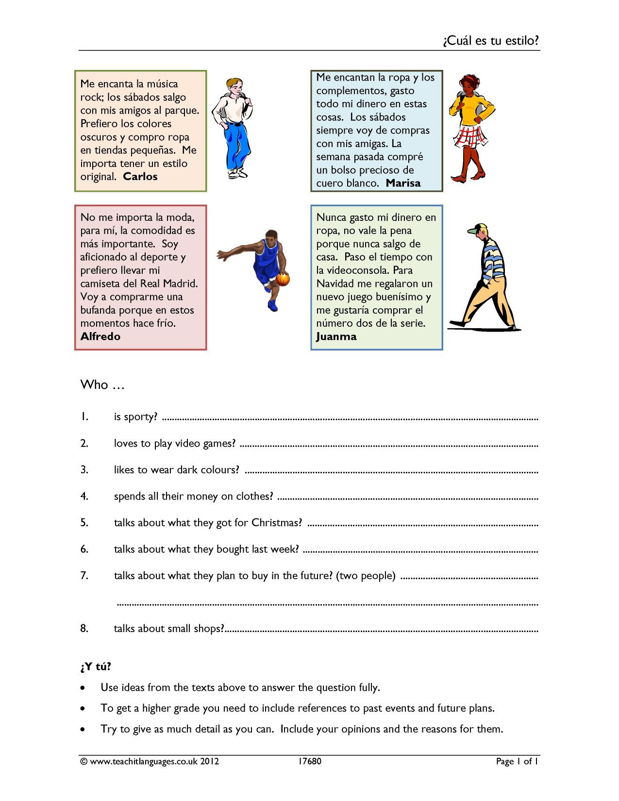 Spanish Reading Comprehension Worksheets Ks4 Spanish Reading