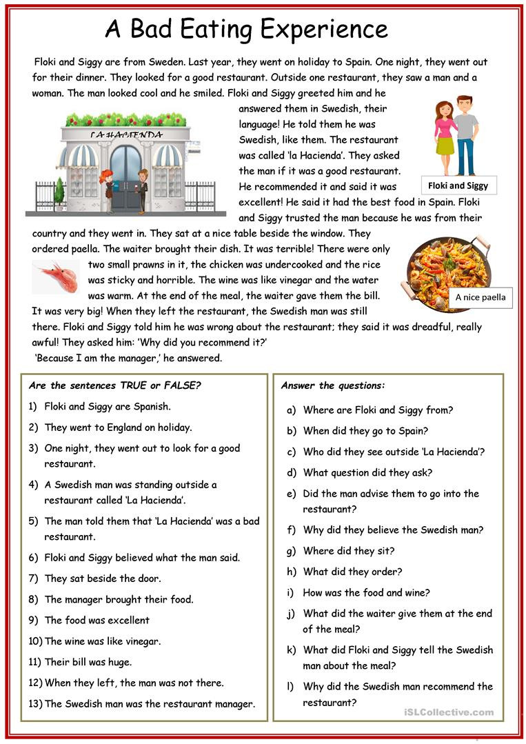 Spanish Reading Comprehension Worksheets Reading Prehension A Bad Eating Experience English Esl