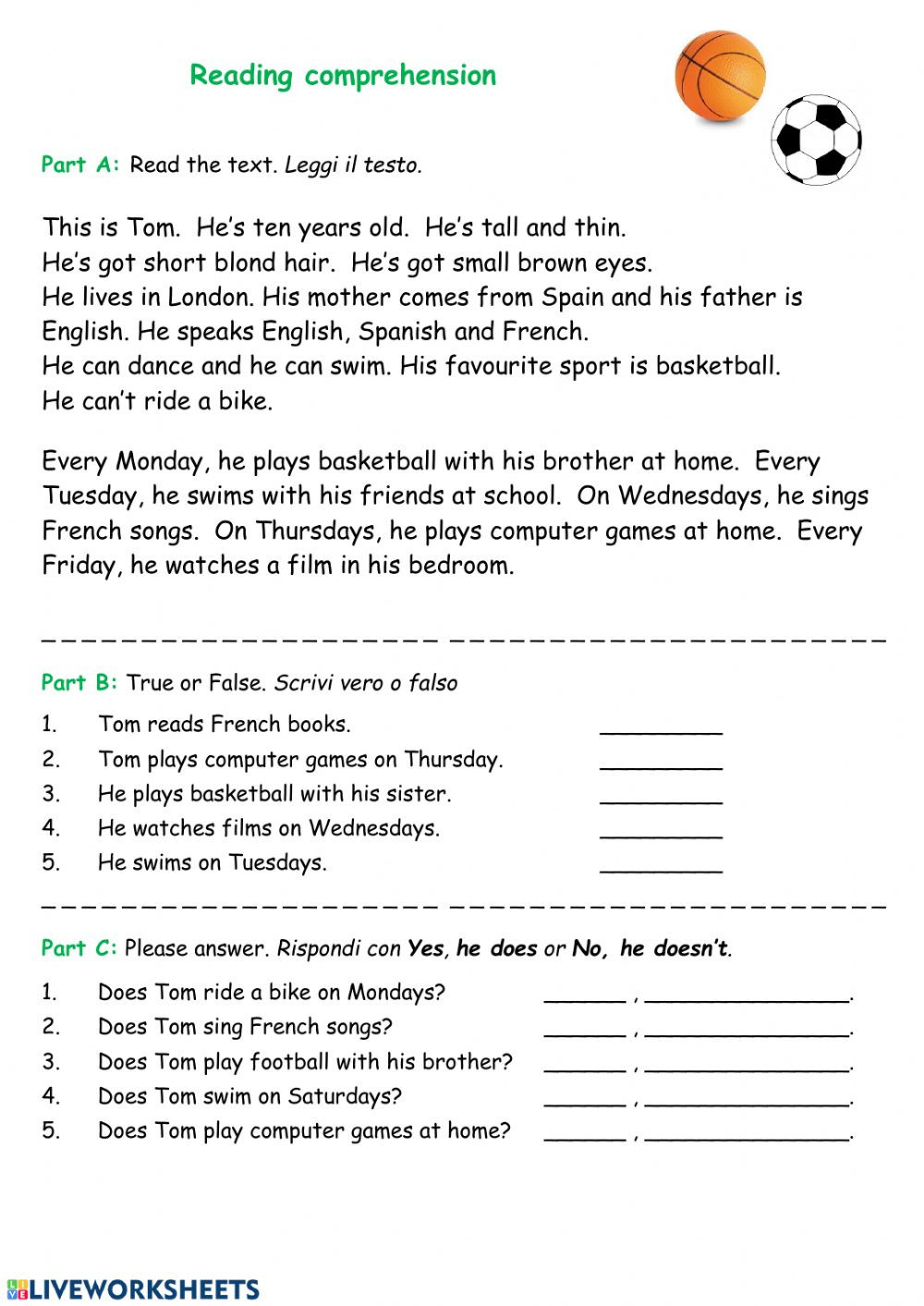 Spanish Reading Comprehension Worksheets Reading Prehension