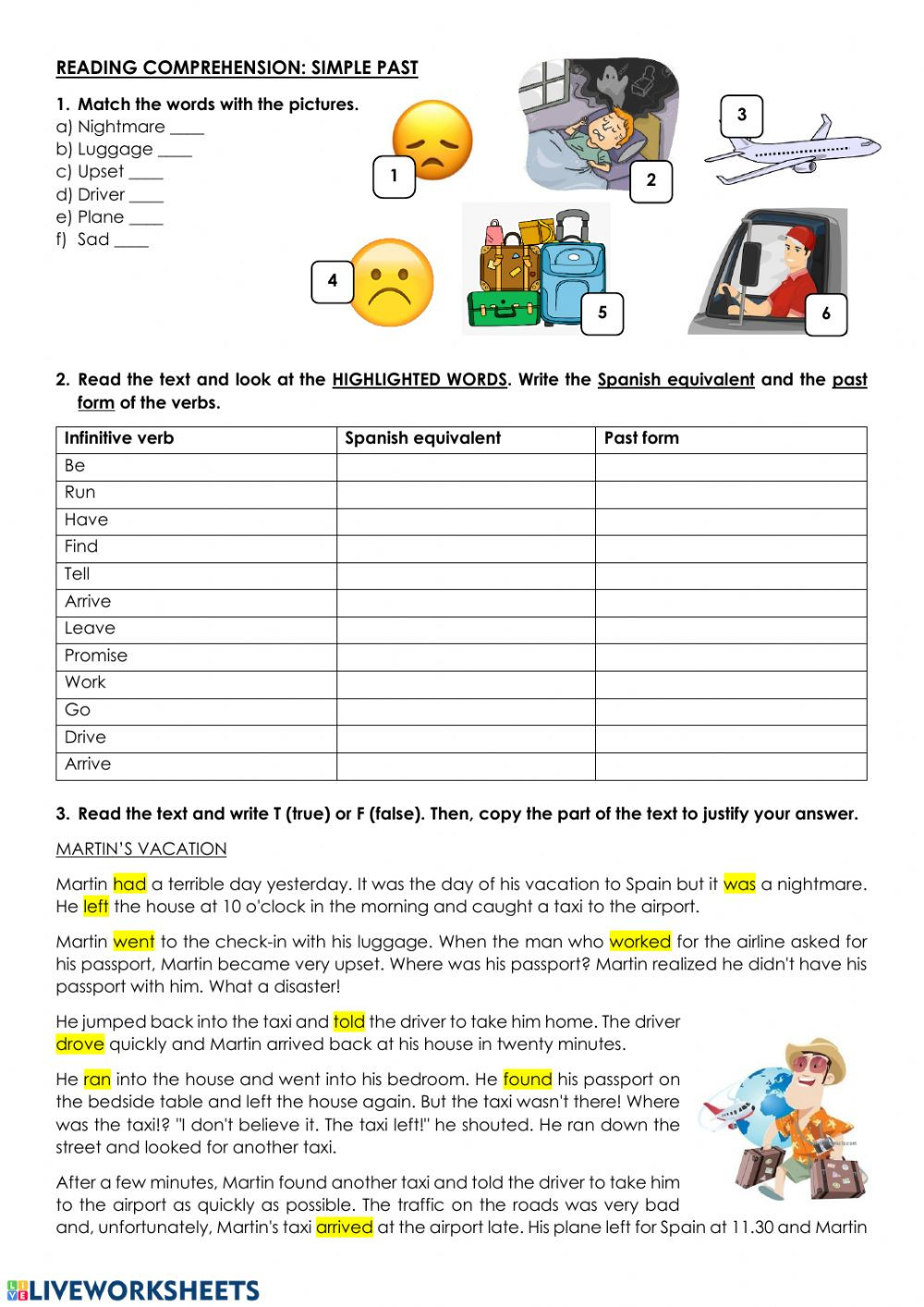 Spanish Reading Comprehension Worksheets Reading Prehension Past Simple Interactive Worksheet