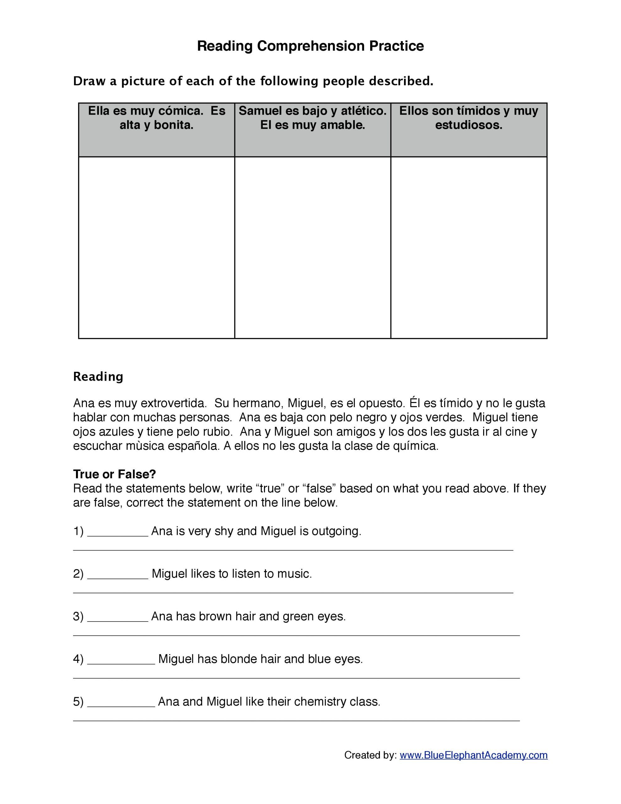 Spanish Reading Comprehension Worksheets Reading Spanish Worksheets