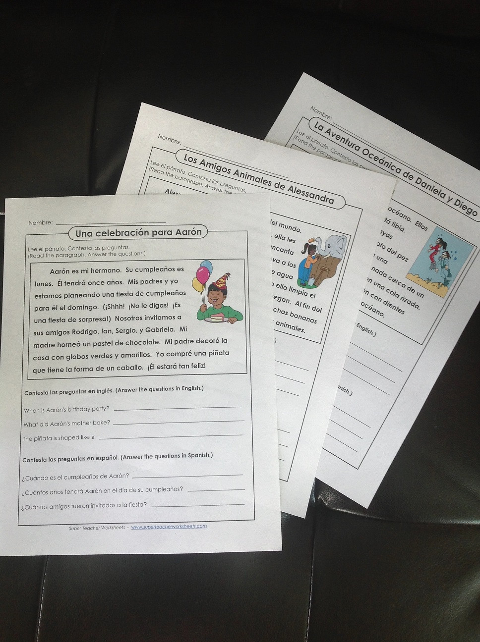 Spanish Reading Comprehension Worksheets Spanish Reading Passages