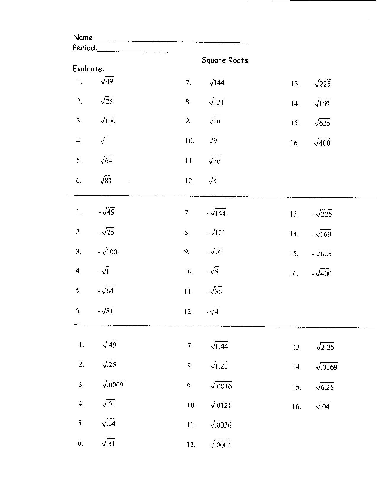 Square Root Worksheets 8th Grade 31 Perfect Square Roots Worksheet Worksheet Resource Plans