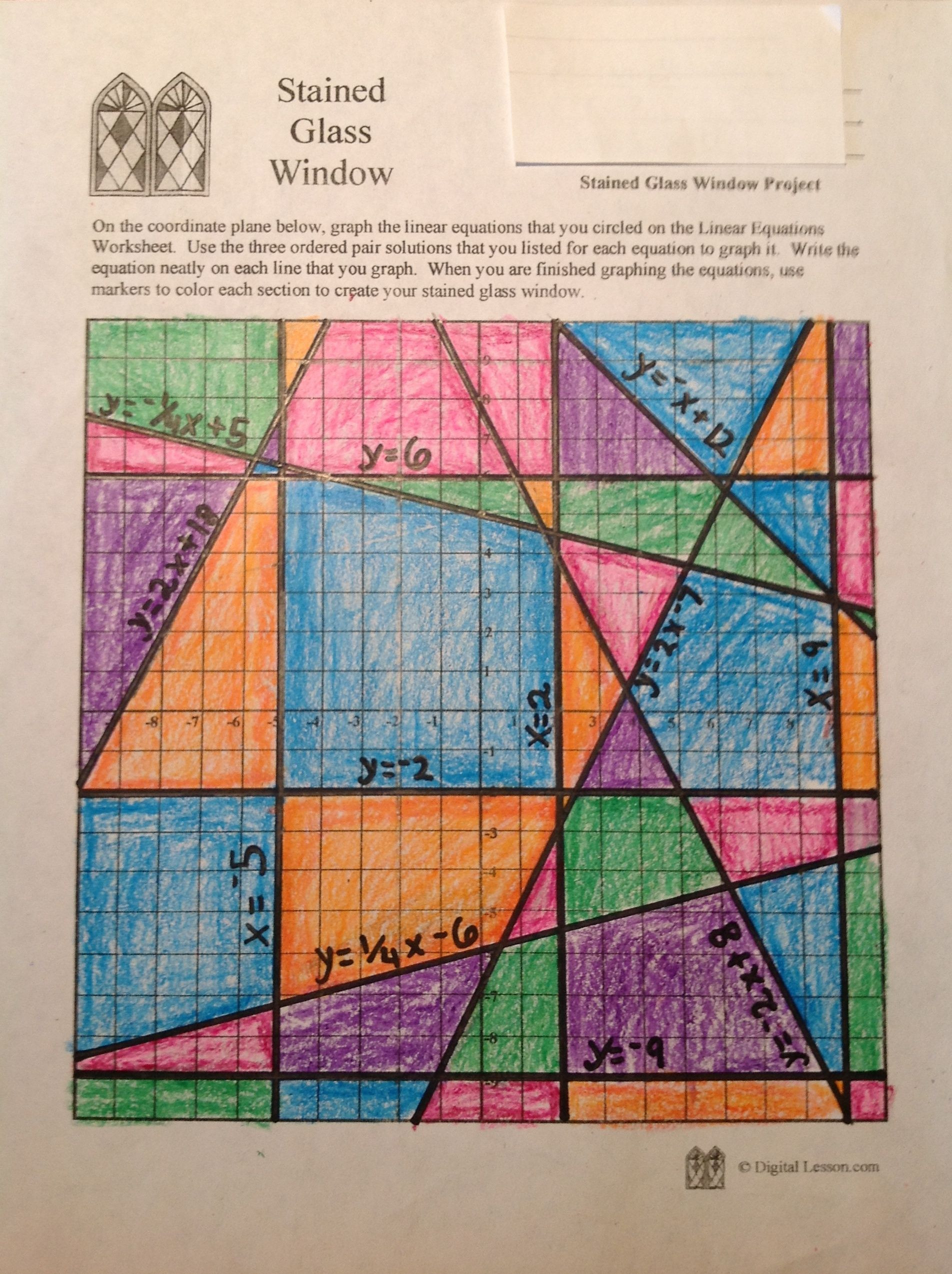 Stained Glass Blueprints Math Worksheet Stained Glass Math Activity