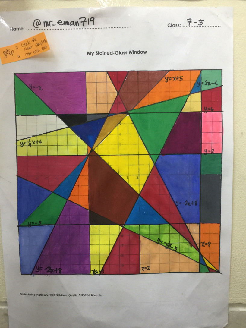 Stained Glass Blueprints Math Worksheet Stained Glass Window Project Graphing Linear Equations