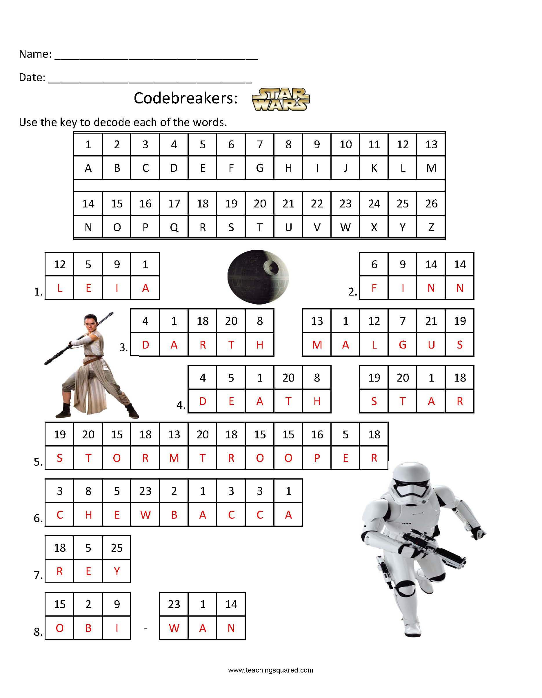 Star Wars Math Worksheets Codebreakers Star Wars 2 Teaching Squared