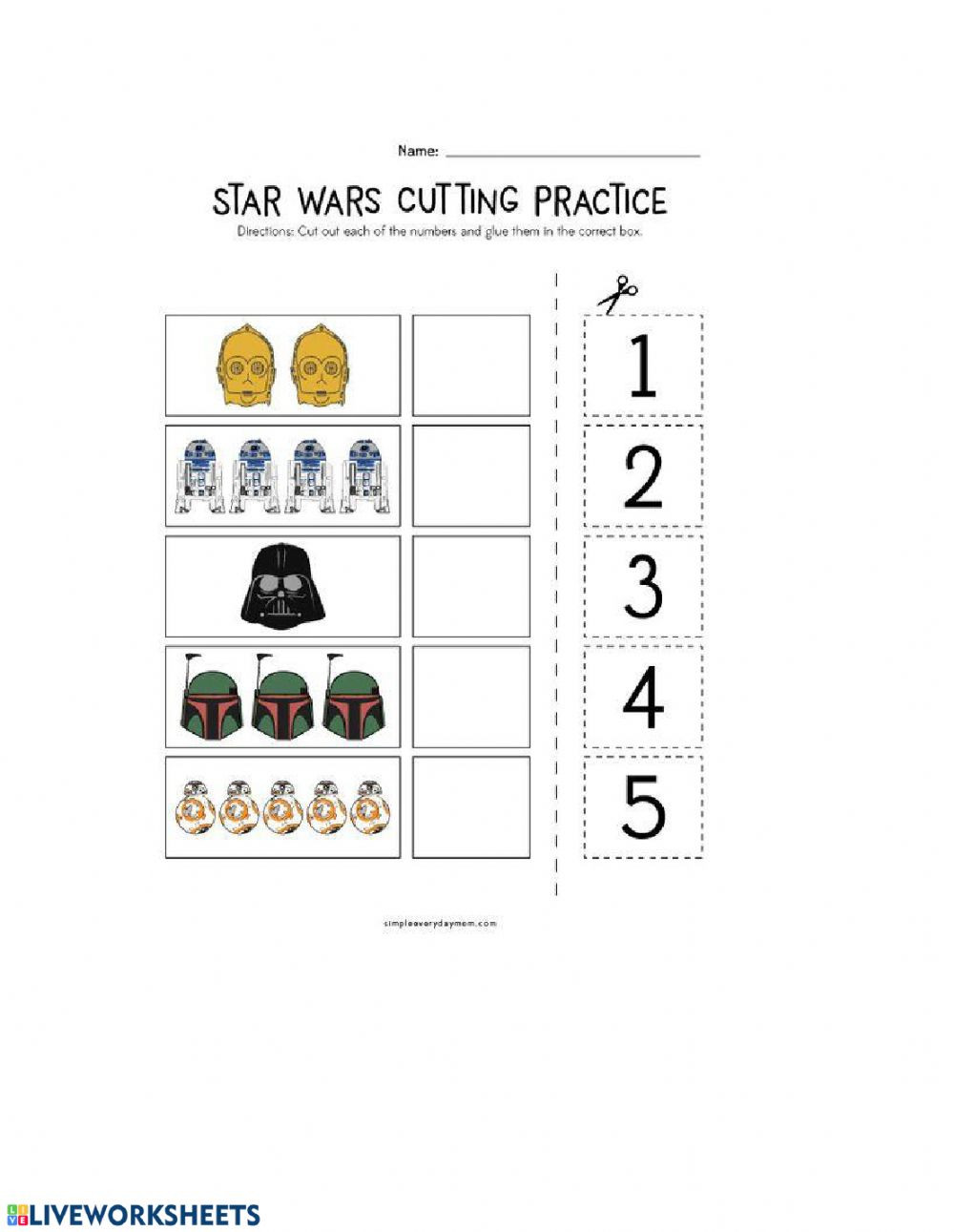 Star Wars Math Worksheets Star Wars Counting Interactive Worksheet