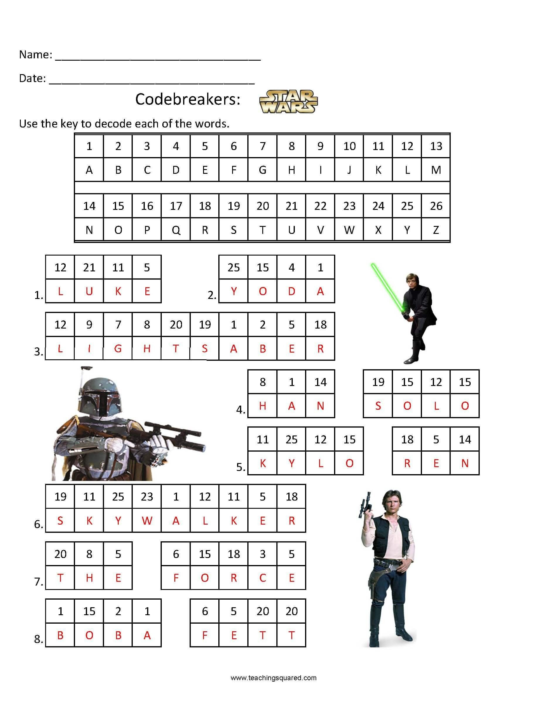 Star Wars Math Worksheets Star Wars Math Worksheets Codebreakers Star Wars 1 Teaching