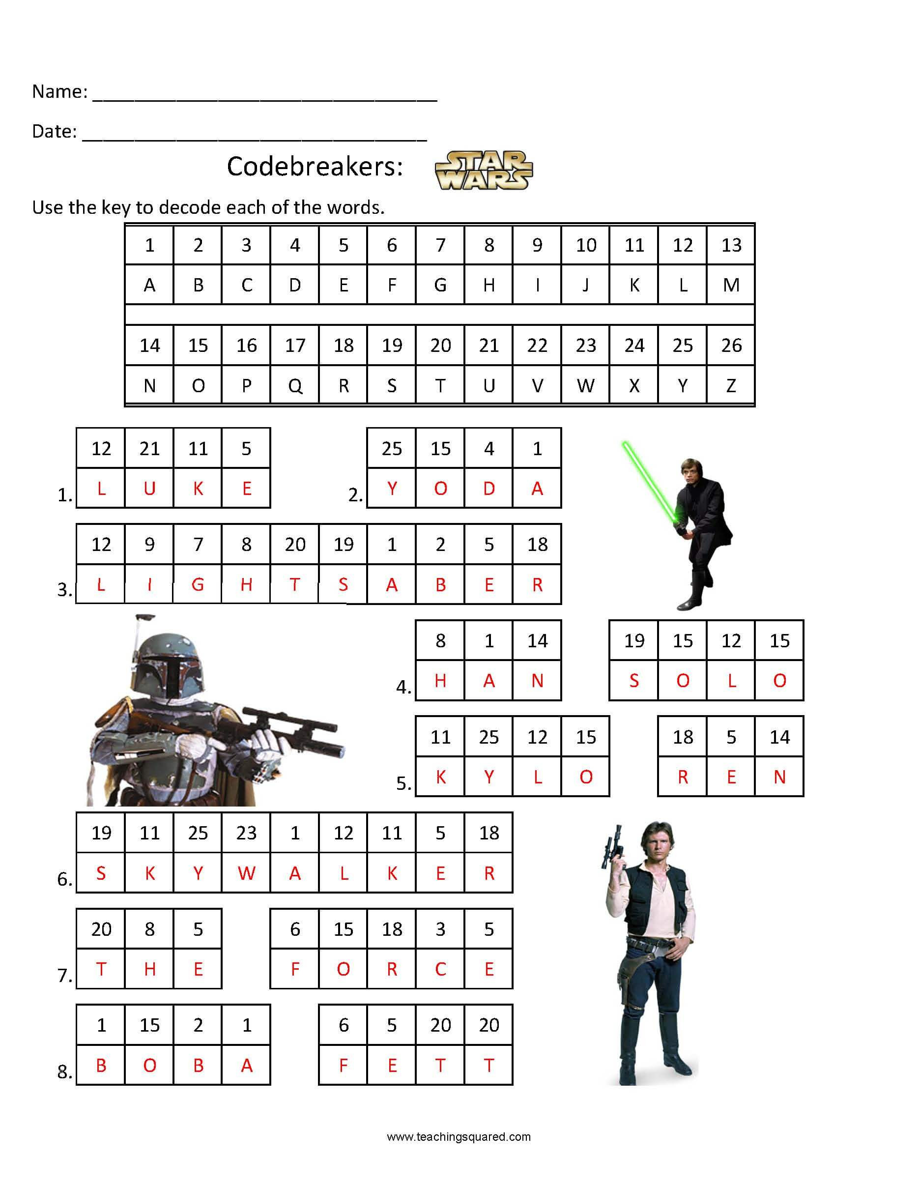 Star Wars Maths Worksheets Codebreakers Star Wars 1 Teaching Squared