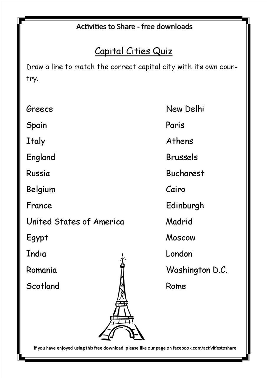 State and Capital Quiz Printable Picture Of Dl34 Capital Cities Quiz