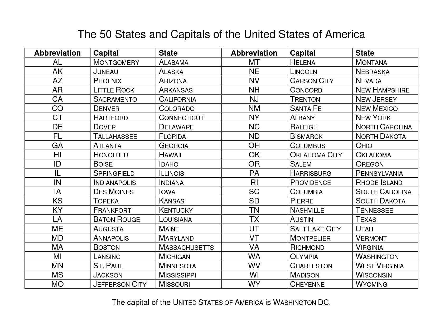 States and Capitals Quiz Printable Us States Capital Map Quiz United States Map Quiz with Us
