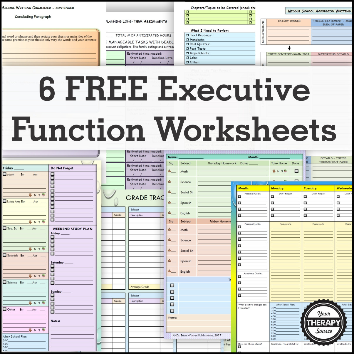 Study Skills Worksheets Middle School 6 Free Executive Functioning Activity Worksheets Your
