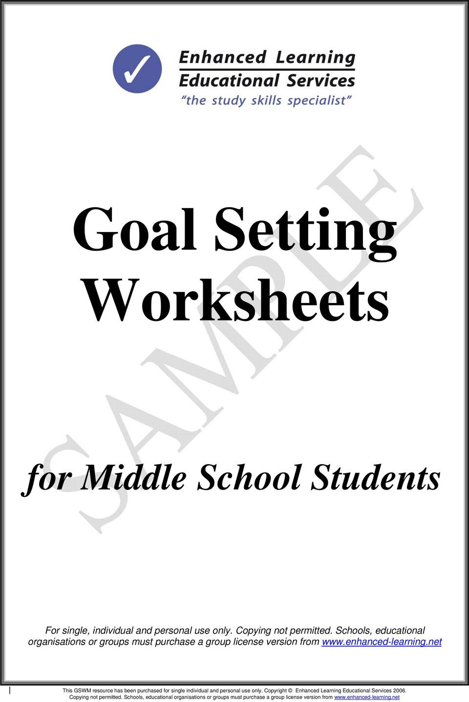 Study Skills Worksheets Middle School Goal Setting Worksheets Pdf Free Download