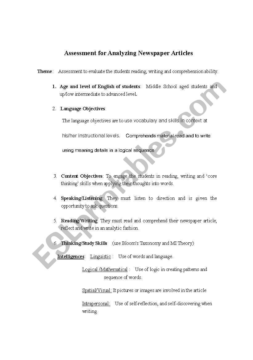 Study Skills Worksheets Middle School Newspaper Activity Esl Worksheet by Namster