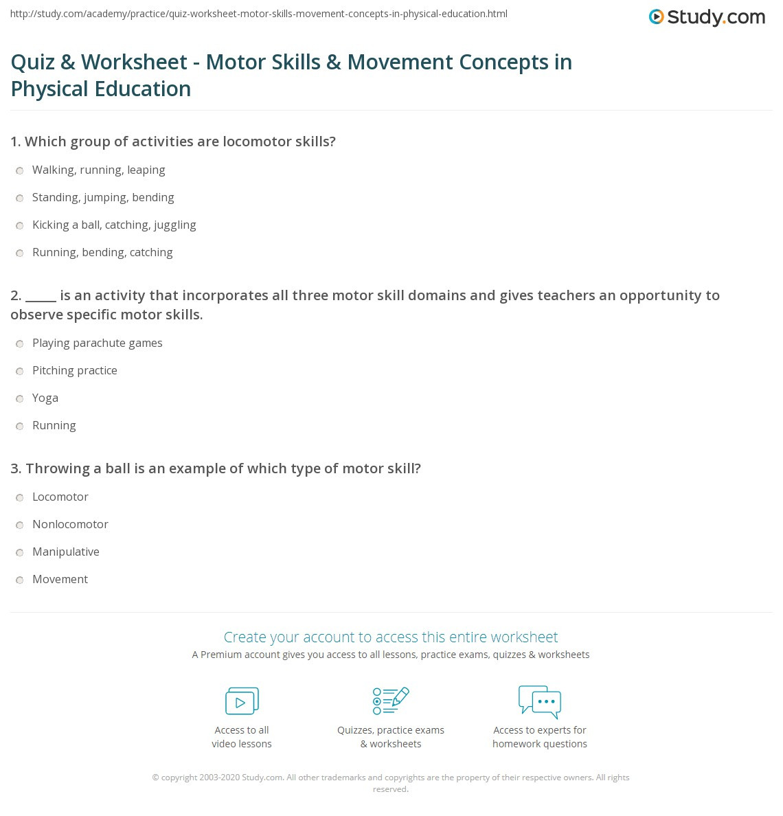 Study Skills Worksheets Middle School Quiz & Worksheet Motor Skills & Movement Concepts In