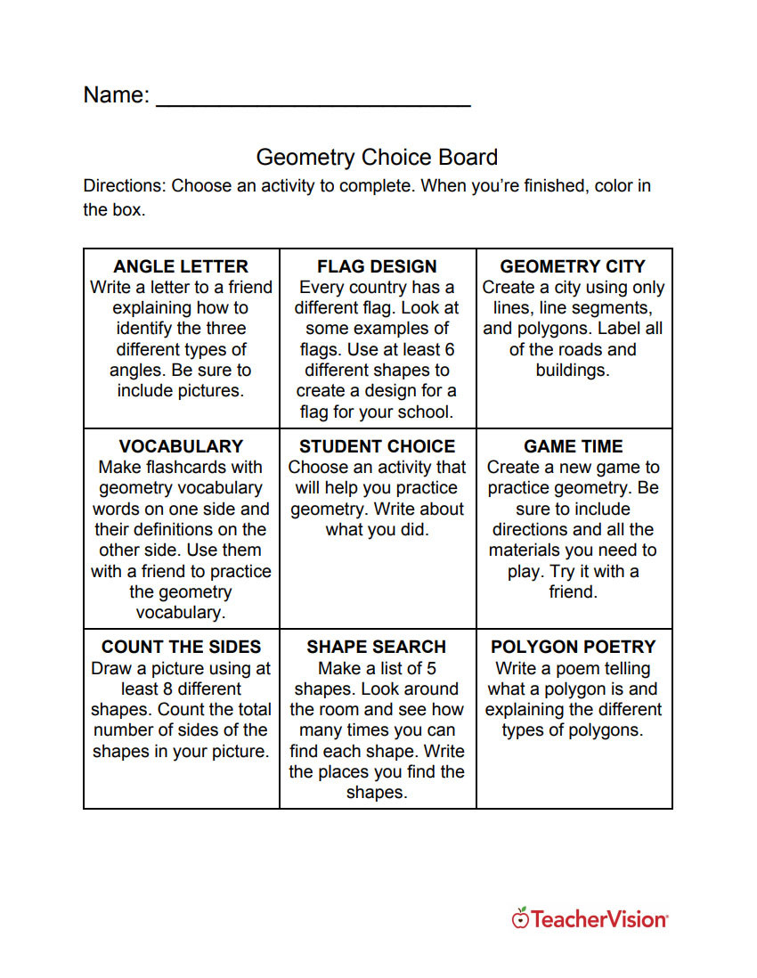 Study Skills Worksheets Middle School Three New Choice Boards for Your Math Classroom Teachervision