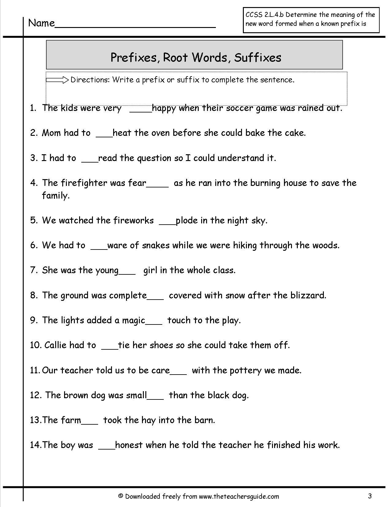 Suffix Worksheets 3rd Grade Prefixes Suffixes Worksheet