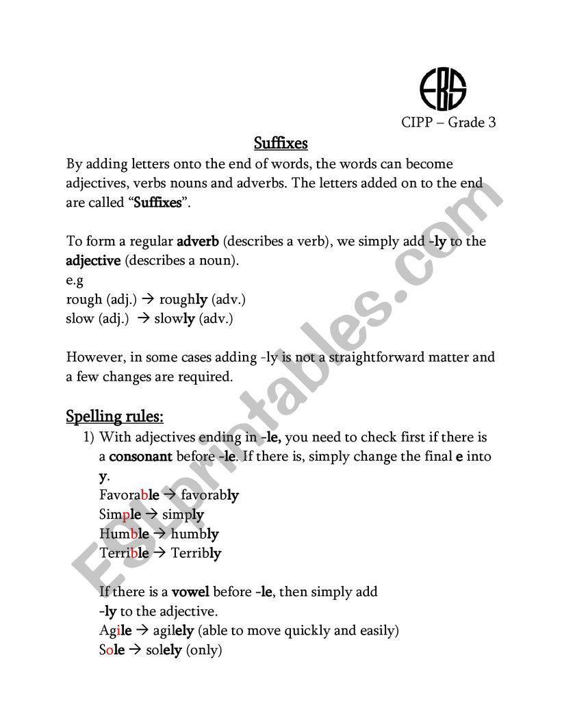 Suffixes Worksheet 3rd Grade Suffix Ly Esl Worksheet by Nohaahmed