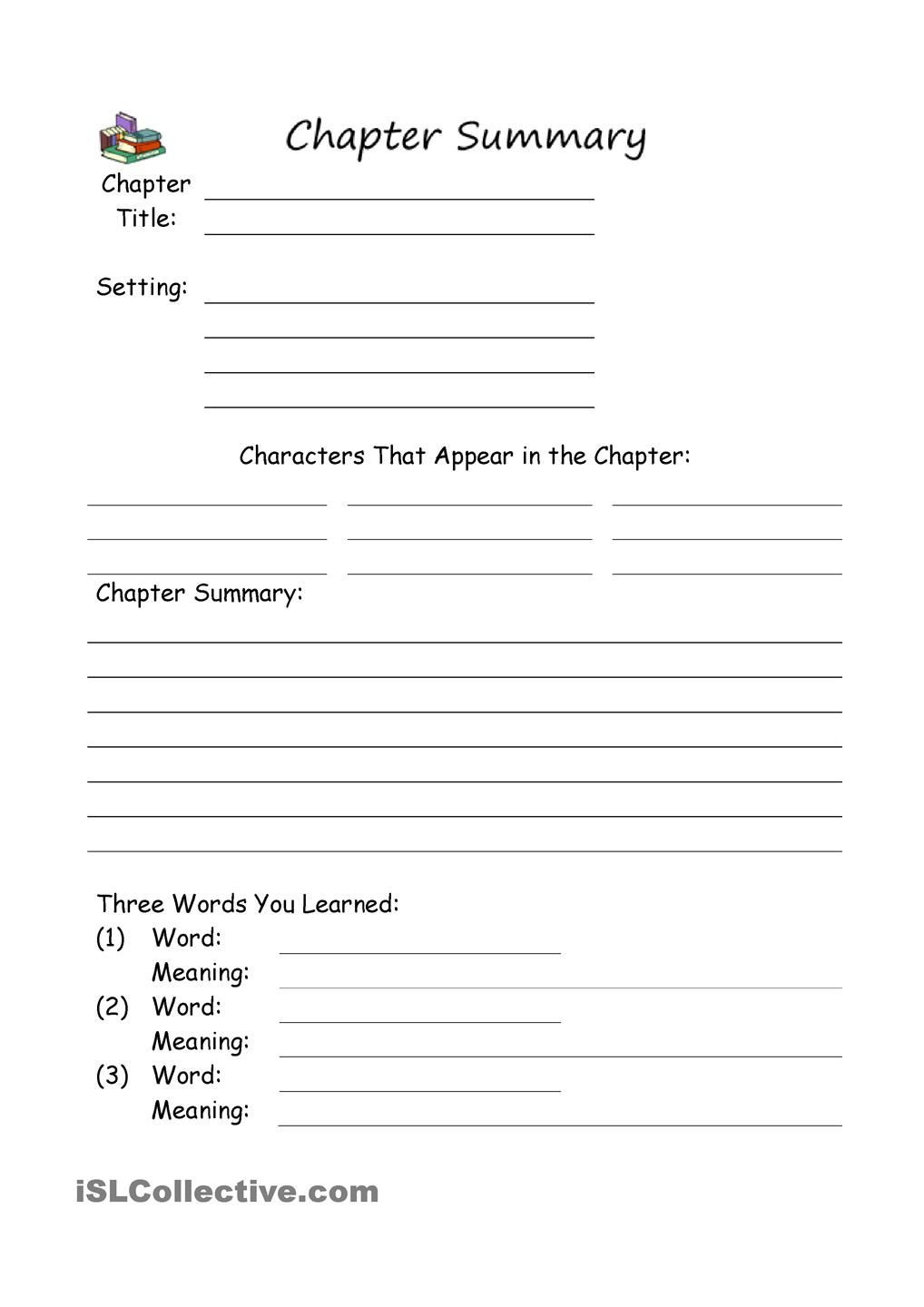Summary Worksheets 5th Grade Chapter Summary