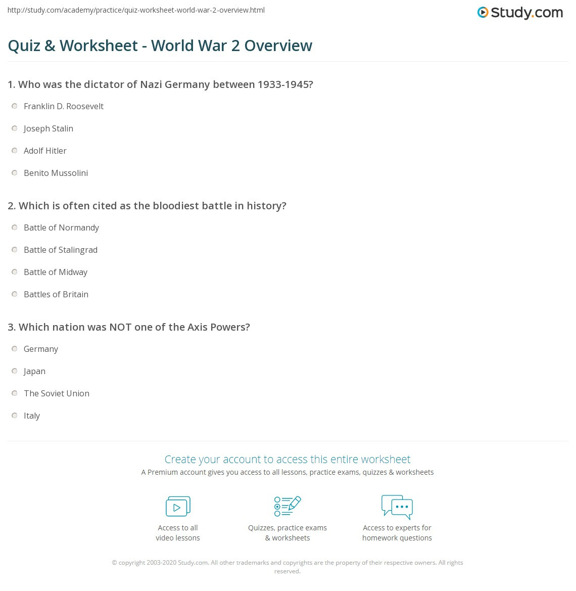 Summary Worksheets 5th Grade Quiz Worksheet World War Overview Study Worksheets 7th Grade
