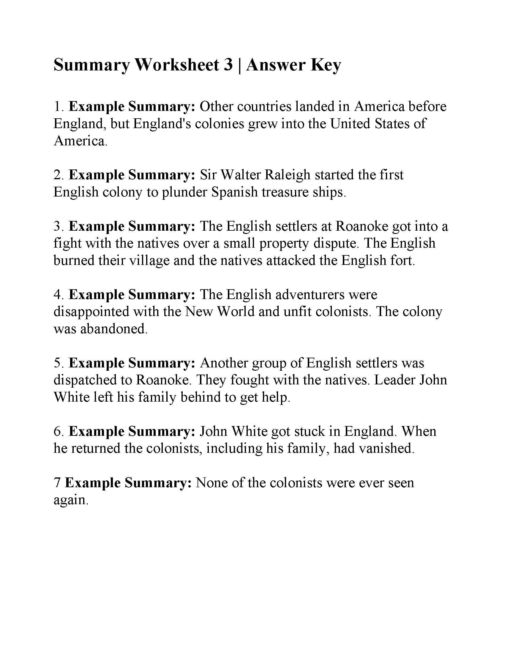 Summary Worksheets 5th Grade This is the Answer Key for the Summary Worksheet 3