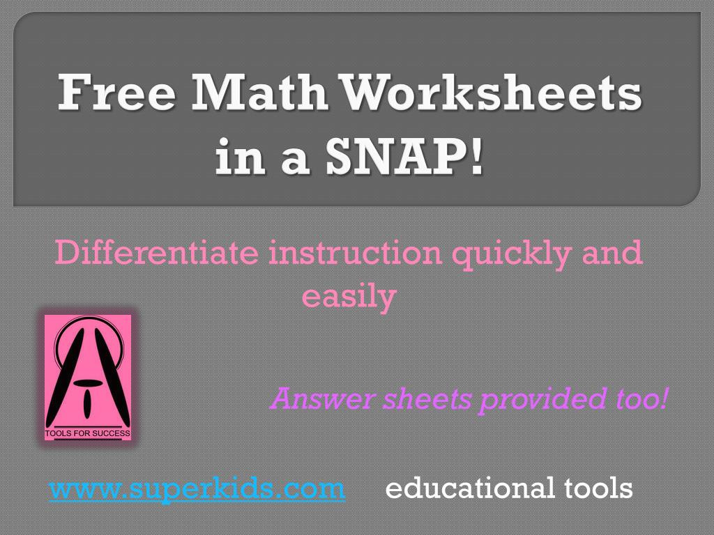 Superkids Reading Program Worksheets Ppt Free Math Worksheets In A Snap Powerpoint