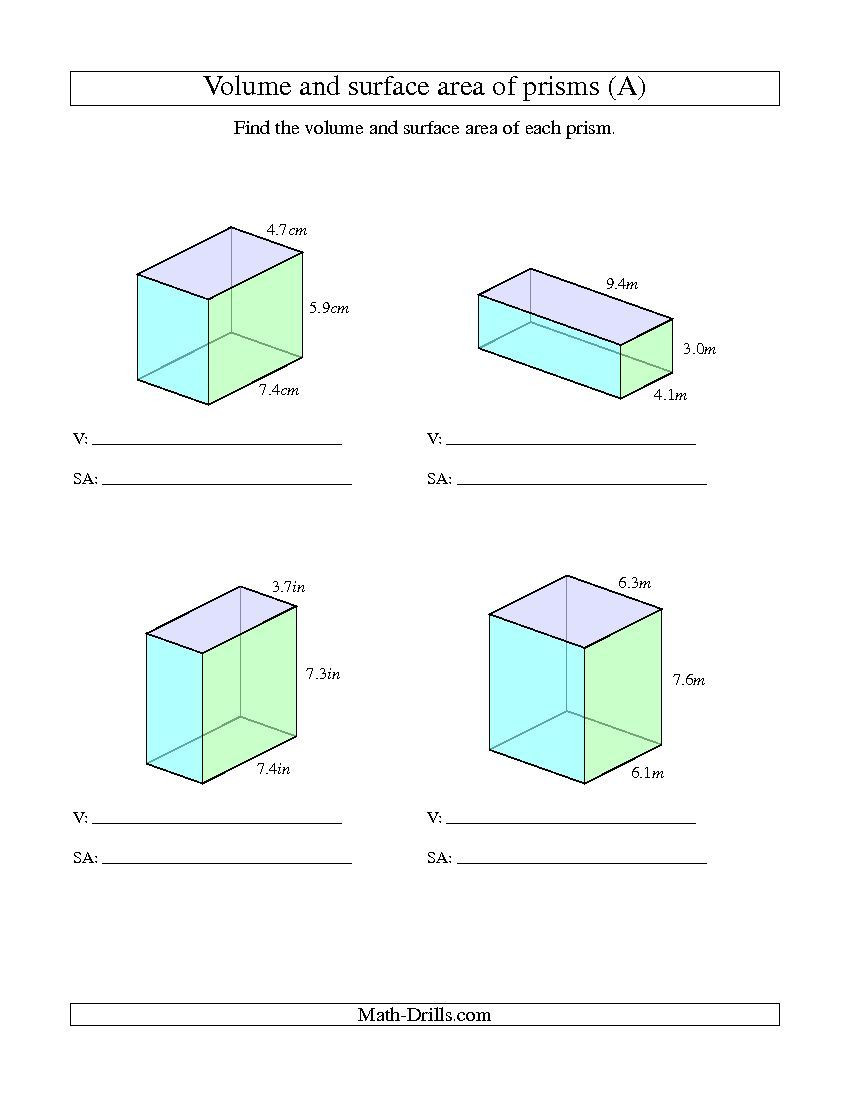 Surface area Worksheet 7th Grade Improved 2013 11 17 Volume and Surface area Of Rectangular
