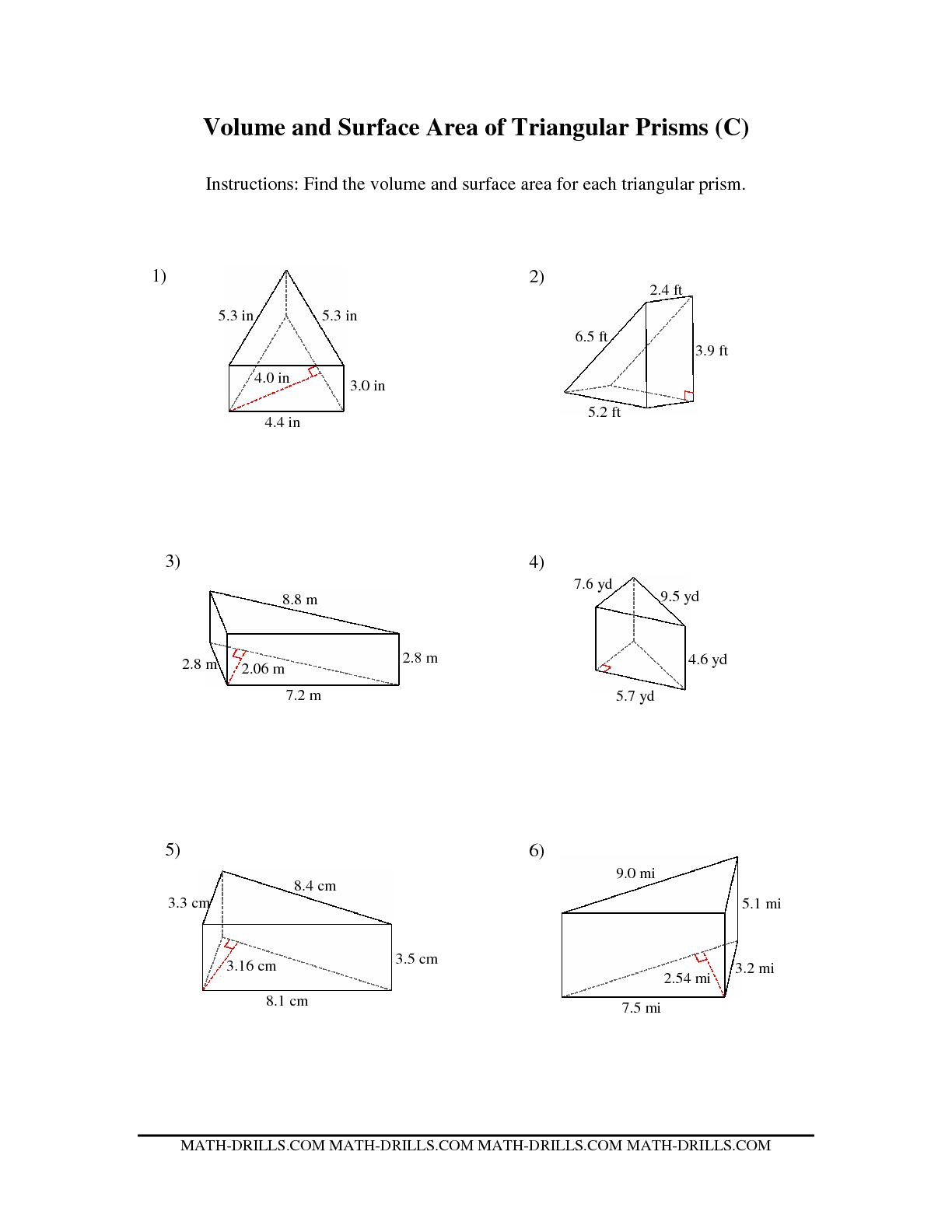 Surface area Worksheet 7th Grade Prismt Worksheet