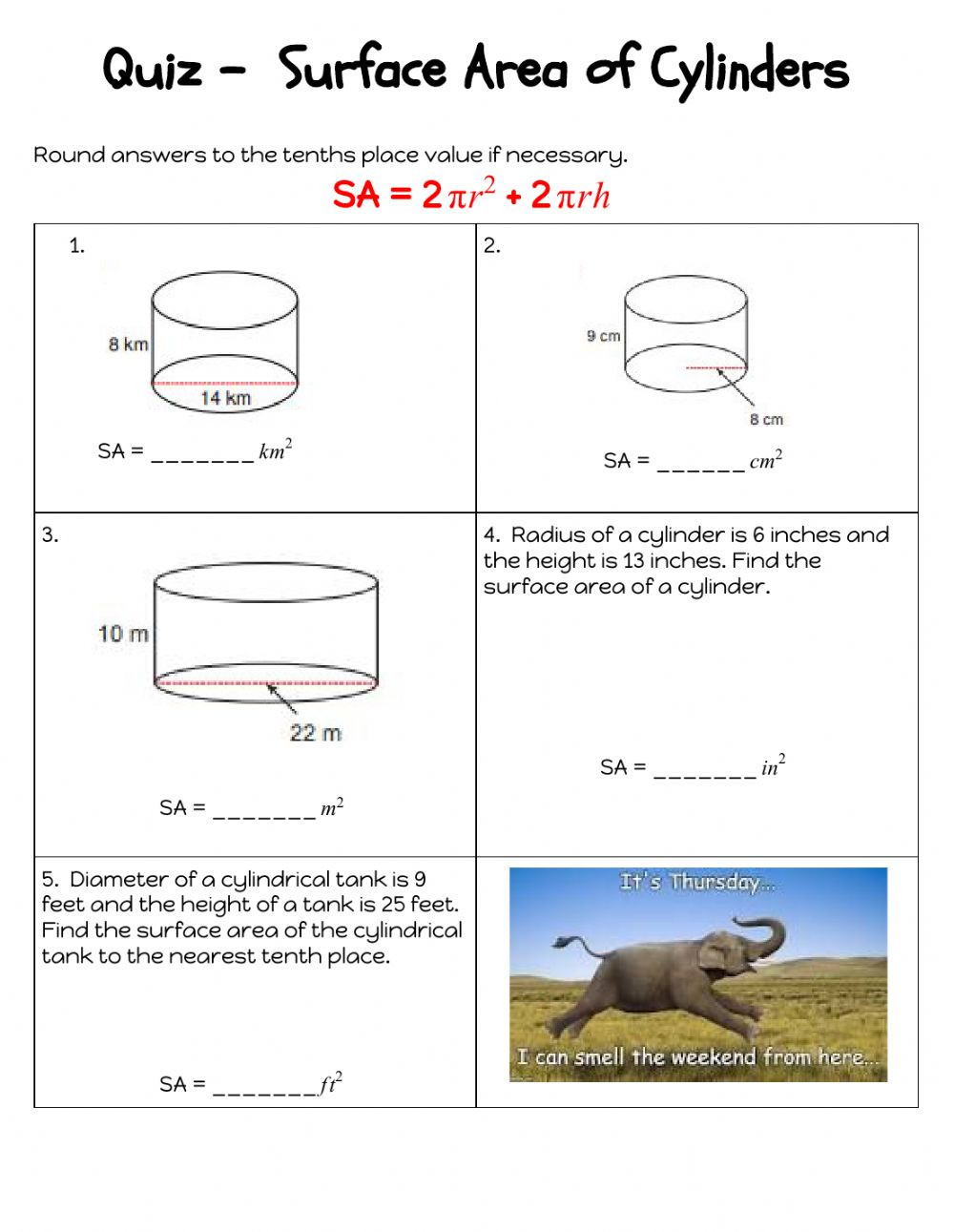 Surface area Worksheet 7th Grade Quiz Sa Of Cylinders Interactive Worksheet