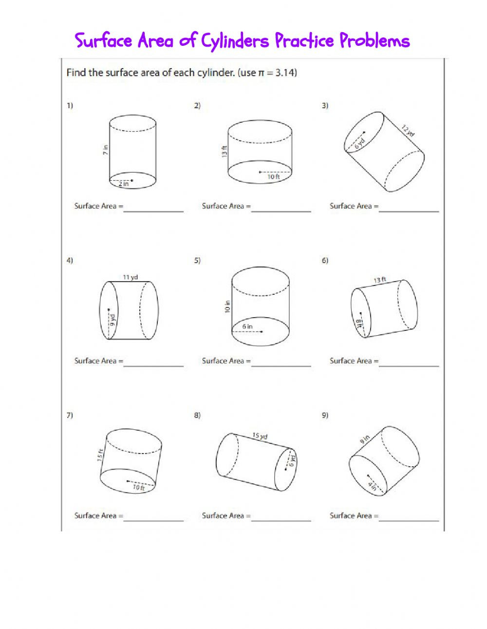 Surface area Worksheet 7th Grade Sa Of Cylinders Interactive Worksheet
