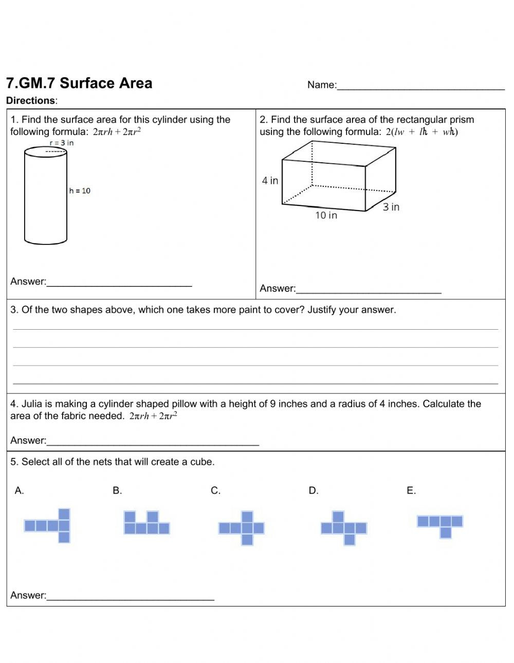 Surface area Worksheet 7th Grade Surface area Interactive Worksheet
