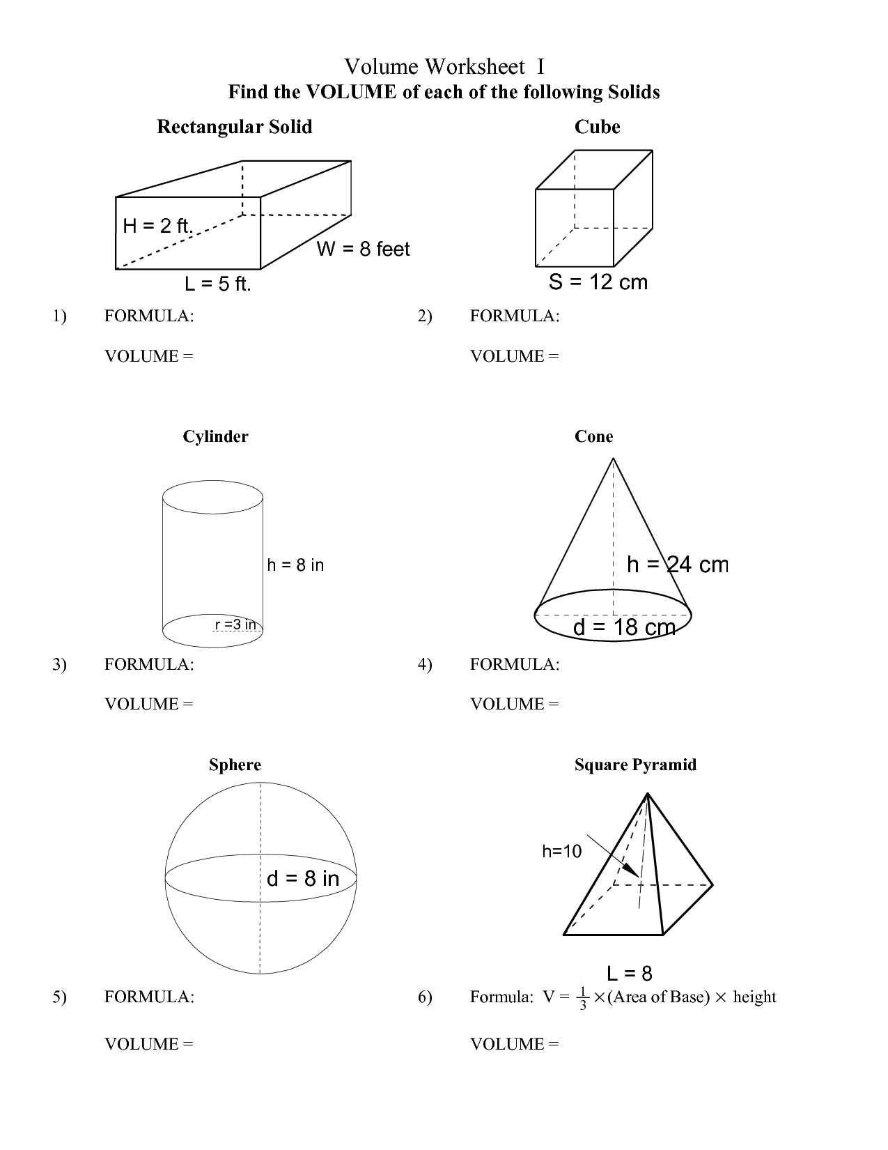 Surface area Worksheet 7th Grade Surface area Math Worksheets
