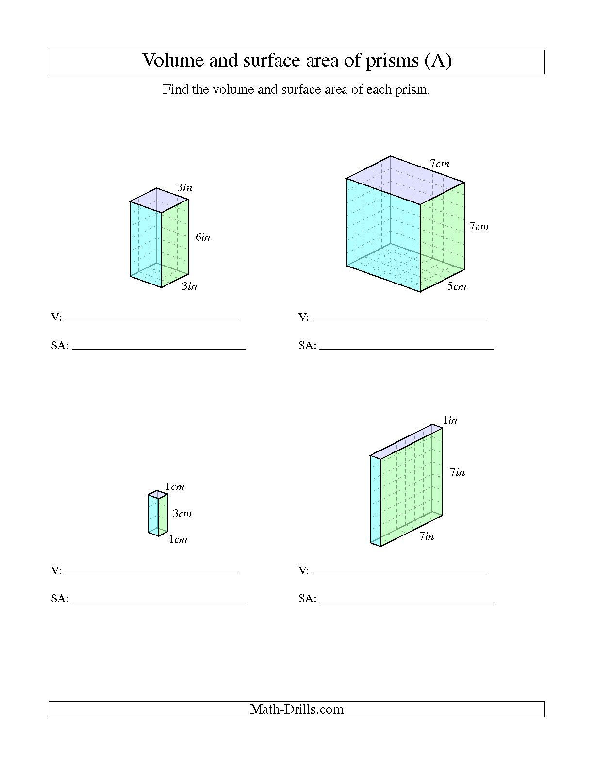 Surface area Worksheet 7th Grade the Volume and Surface area Of Rectangular Prisms with whole