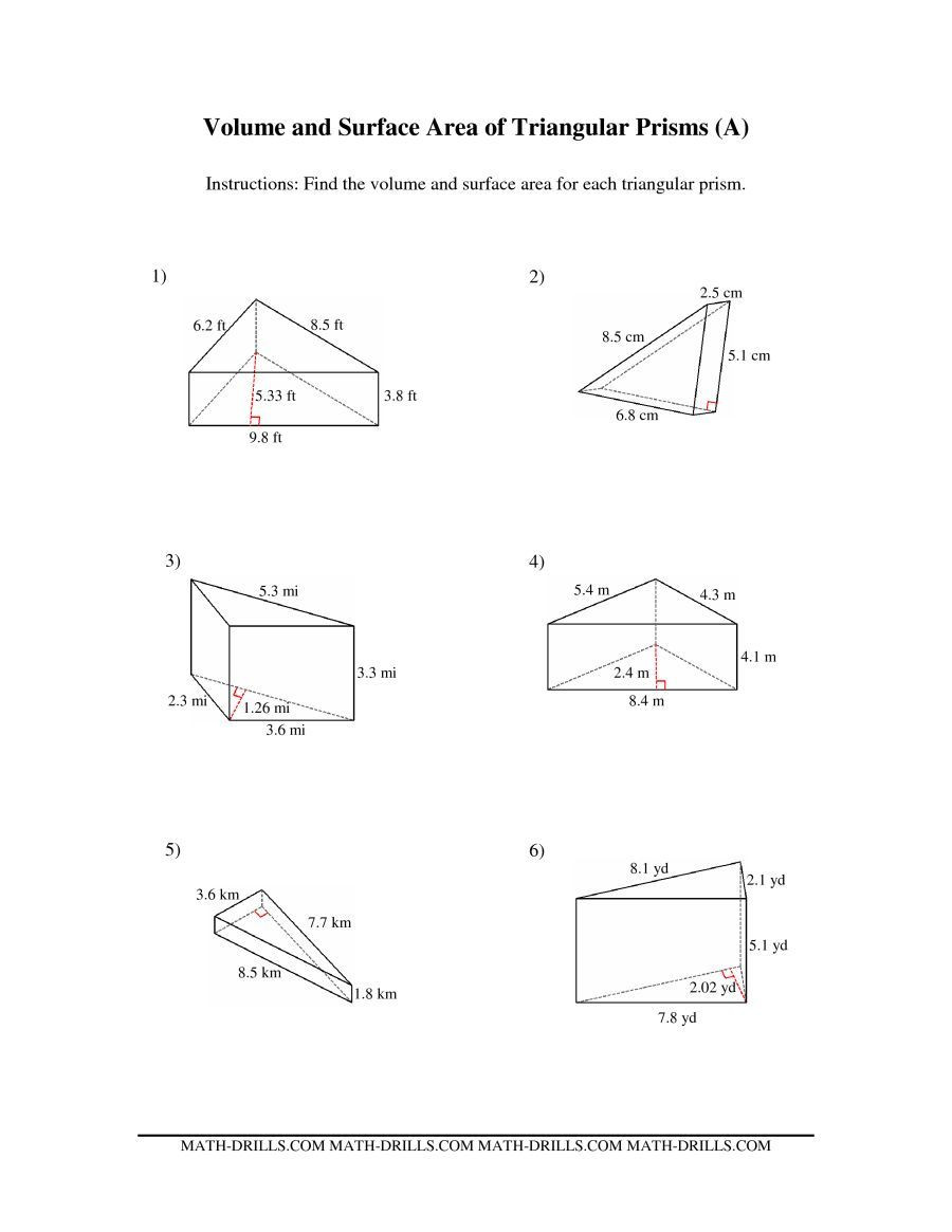 Surface area Worksheet 7th Grade the Volume and Surface area Of Triangular Prisms A Math