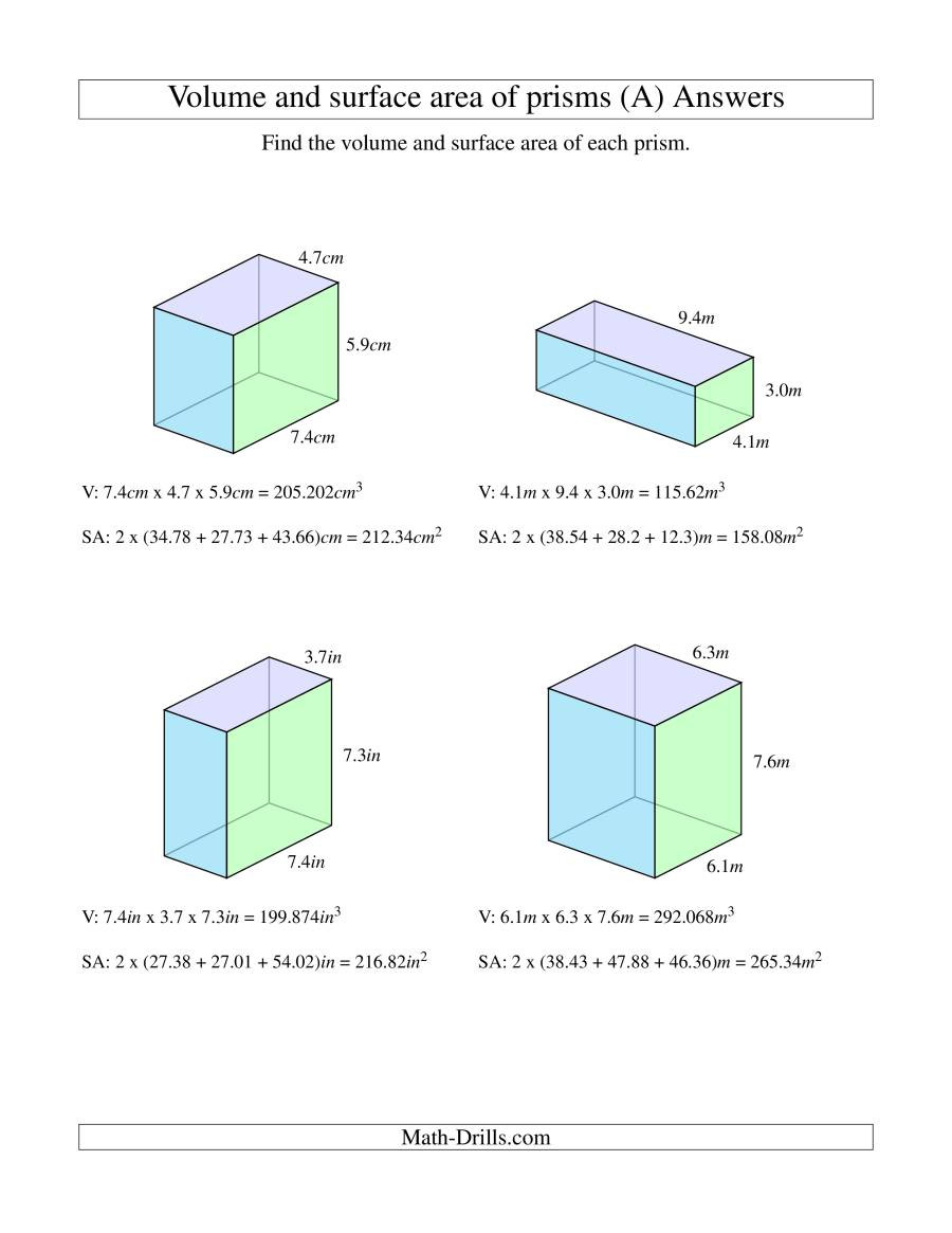 Surface area Worksheet 7th Grade Volume A Rectangular Prism Word Problems Worksheet