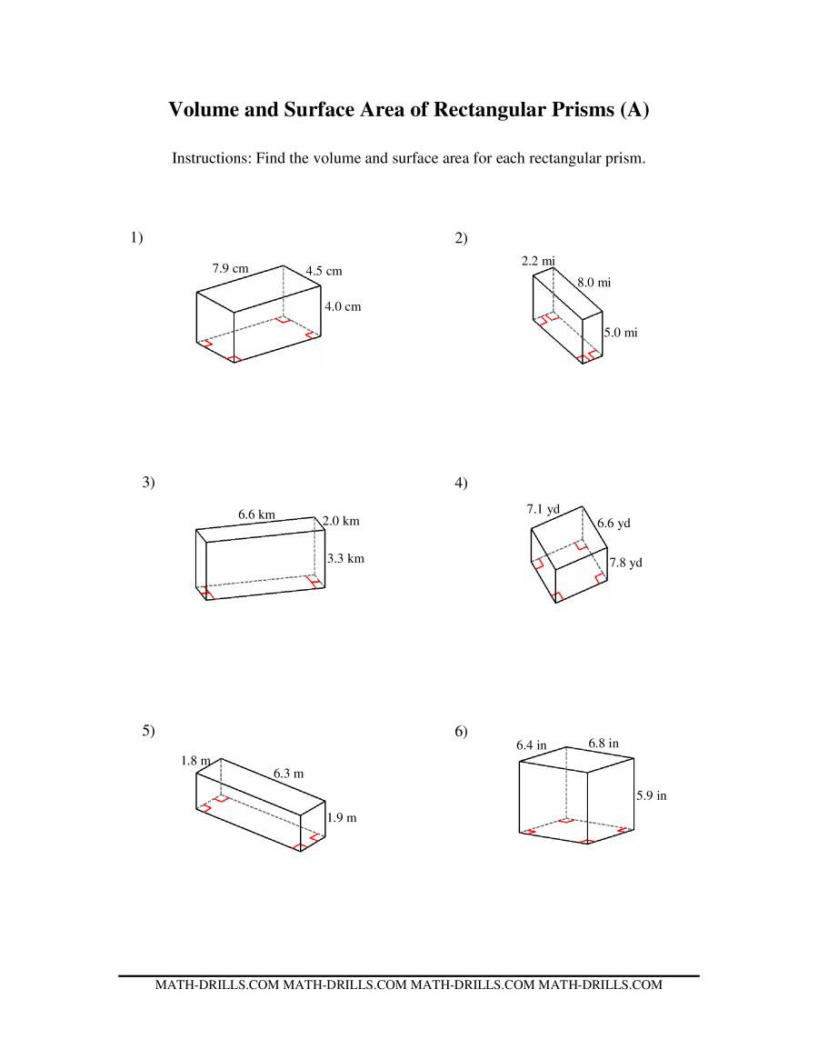 Surface area Worksheet 7th Grade Volume and Surface area Of Rectangular Prisms A