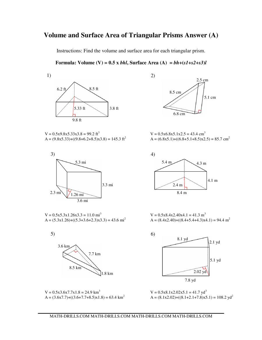 Surface area Worksheet 7th Grade Volume and Surface area Of Triangular Prisms A