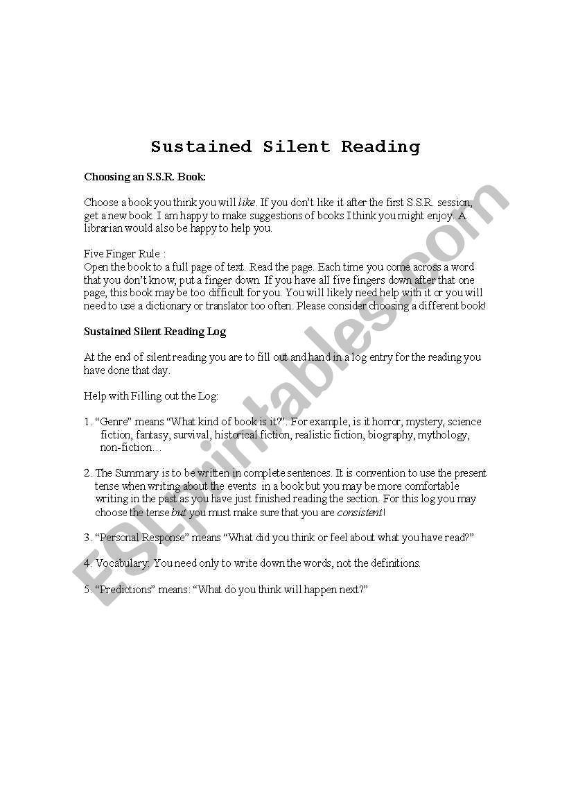 Sustained Silent Reading Worksheet English Worksheets Sustained Silent Reading Log