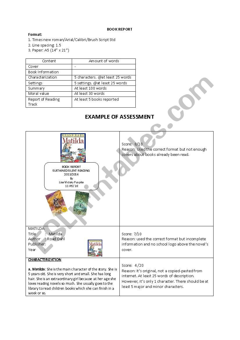Sustained Silent Reading Worksheet Task Sheet Book Report Esl Worksheet by Lisavict