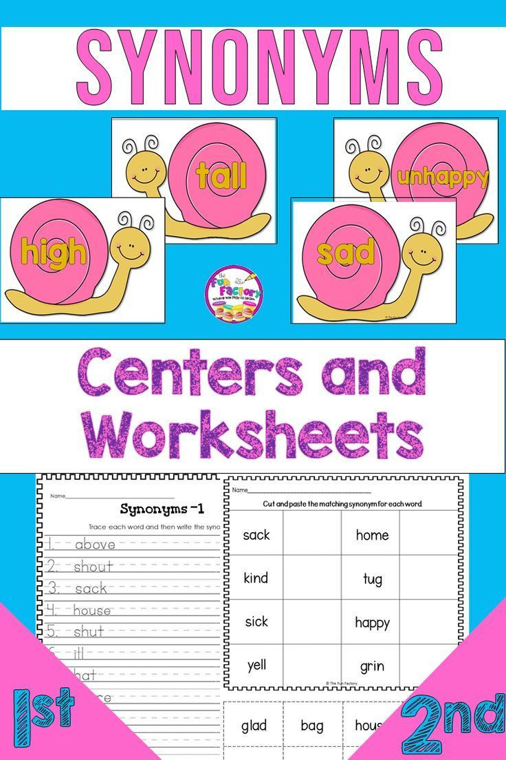 Synonyms Worksheet First Grade Synonym Activities