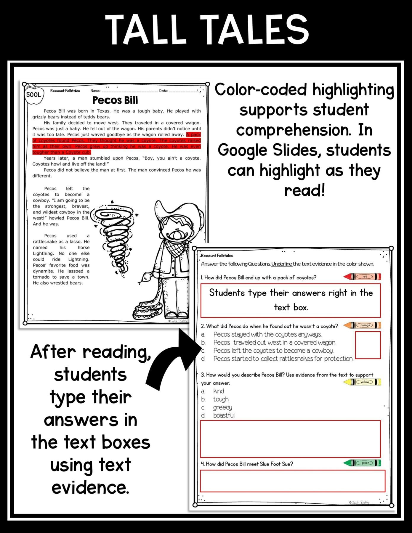 Tall Tale Reading Comprehension Worksheets Recount Stories Tall Tales – 2nd & 3rd Rl 2 2 Rl 3 2 Printable & Digital Google Slides Distance Learning Pack